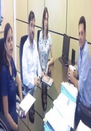 Reunião dia 09/04/15 com Prefeito Thiago Assis , Henrique Carmine (Presidente), Rachel Carmine (1º Tesoureira ACEMM)